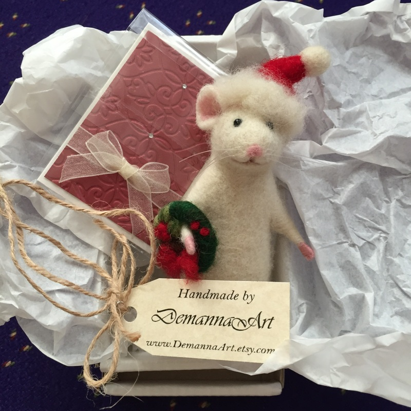 Needle Felted Mouse available at DemannaArt Etsy Shop