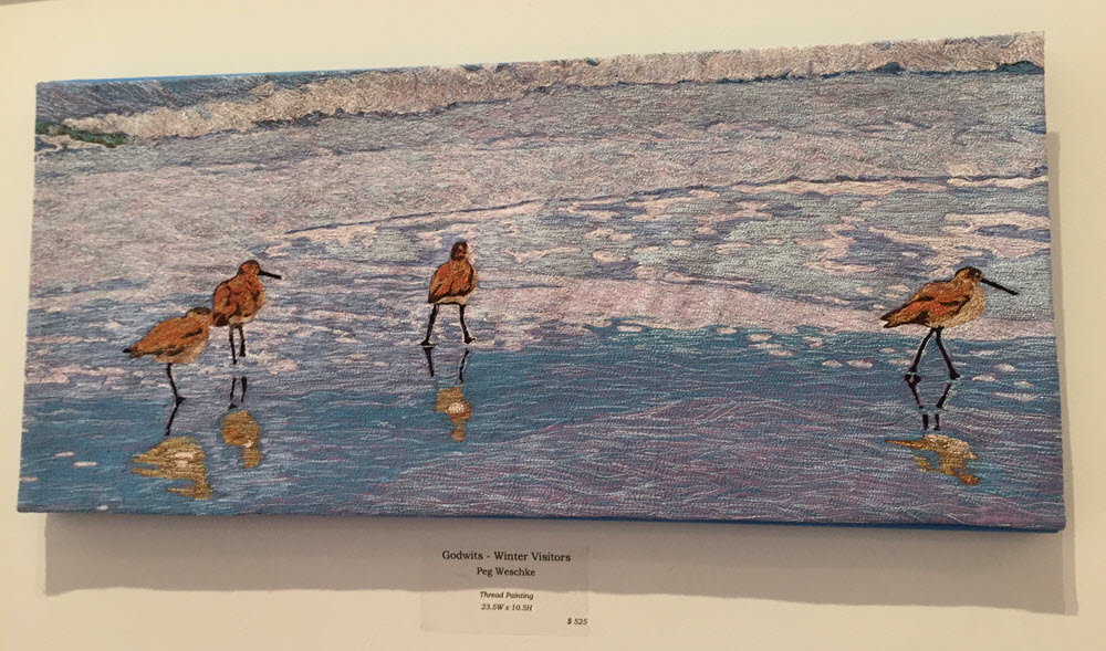 Godwits Winter Visitors Thrad Painting by Peg Weschke