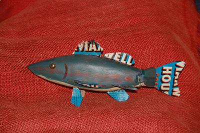 Wood Carved Fish with Glass Eyes
