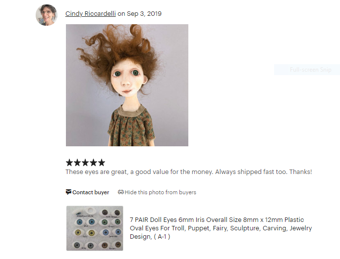 Review of Eyes purchased from GlassEyesOnLine  Etsy Shop