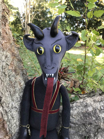 Krampus Doll with Slit Pupil Safety Eyes Yellow