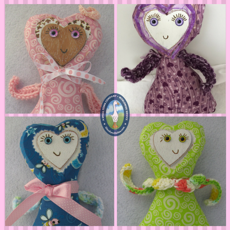 Folk Heart Dolls using Sewing, Crochet, Pyrography  Arts