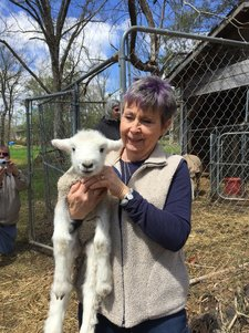 Photo of Jeri Lynn With Her New Lamb