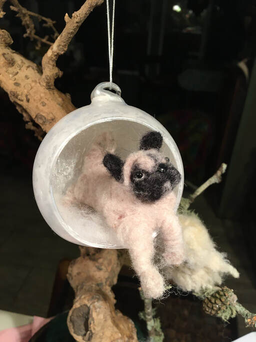 Holiday Ornament Needle Felted Puppy