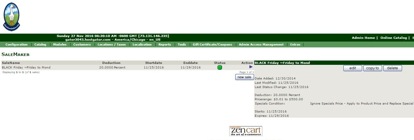 Zen Cart Admin Module Sale Maker