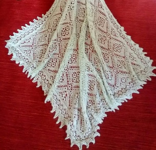 Sheltand Lace Hand Knitted Wedding Ring Shawl